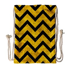 Chevron9 Black Marble & Yellow Marble (r) Drawstring Bag (large) by trendistuff