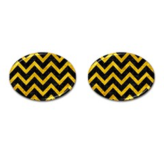 Chevron9 Black Marble & Yellow Marble Cufflinks (oval) by trendistuff