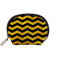 Chevron3 Black Marble & Yellow Marble Accessory Pouch (small) by trendistuff