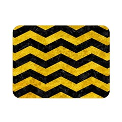 Chevron3 Black Marble & Yellow Marble Double Sided Flano Blanket (mini) by trendistuff