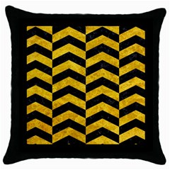 Chevron2 Black Marble & Yellow Marble Throw Pillow Case (black) by trendistuff