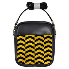Chevron2 Black Marble & Yellow Marble Girls Sling Bag by trendistuff