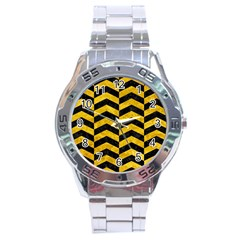 Chevron2 Black Marble & Yellow Marble Stainless Steel Analogue Watch by trendistuff