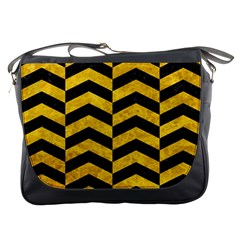 Chevron2 Black Marble & Yellow Marble Messenger Bag by trendistuff
