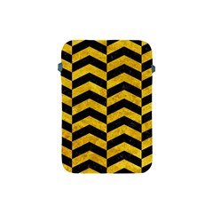 Chevron2 Black Marble & Yellow Marble Apple Ipad Mini Protective Soft Case by trendistuff