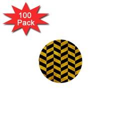 Chevron1 Black Marble & Yellow Marble 1  Mini Button (100 Pack)  by trendistuff