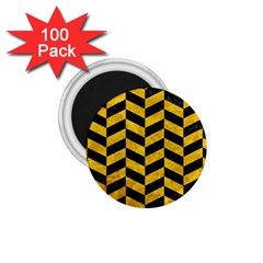 Chevron1 Black Marble & Yellow Marble 1 75  Magnet (100 Pack)  by trendistuff