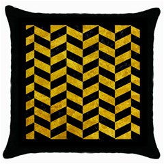 Chevron1 Black Marble & Yellow Marble Throw Pillow Case (black) by trendistuff