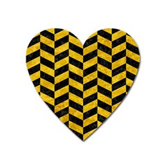 Chevron1 Black Marble & Yellow Marble Magnet (heart) by trendistuff