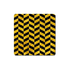 Chevron1 Black Marble & Yellow Marble Magnet (square) by trendistuff