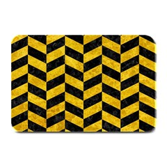Chevron1 Black Marble & Yellow Marble Plate Mat