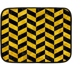 Chevron1 Black Marble & Yellow Marble Fleece Blanket (mini) by trendistuff