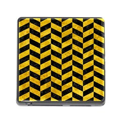 Chevron1 Black Marble & Yellow Marble Memory Card Reader (square)