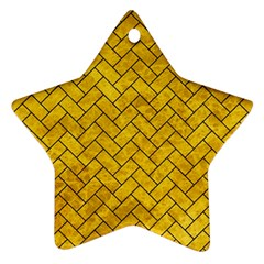 Brick2 Black Marble & Yellow Marble (r) Star Ornament (two Sides) by trendistuff