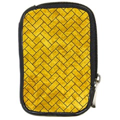 Brick2 Black Marble & Yellow Marble (r) Compact Camera Leather Case by trendistuff