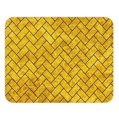 Brick2 Black Marble & Yellow Marble (r) Double Sided Flano Blanket (large) by trendistuff