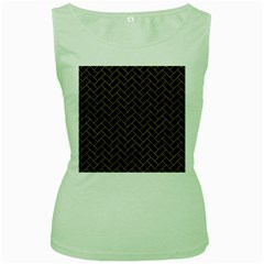 Brick2 Black Marble & Yellow Marble Women s Green Tank Top by trendistuff