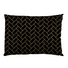 Brick2 Black Marble & Yellow Marble Pillow Case by trendistuff