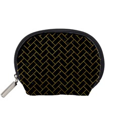 Brick2 Black Marble & Yellow Marble Accessory Pouch (small) by trendistuff