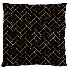 Brick2 Black Marble & Yellow Marble Standard Flano Cushion Case (two Sides) by trendistuff