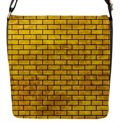 Brick1 Black Marble & Yellow Marble (r) Flap Closure Messenger Bag (s) by trendistuff