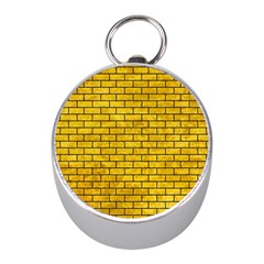 Brick1 Black Marble & Yellow Marble (r) Silver Compass (mini) by trendistuff