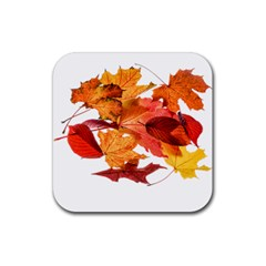 Autumn Leaves Leaf Transparent Rubber Coaster (square)  by Amaryn4rt
