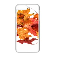 Autumn Leaves Leaf Transparent Apple iPhone 7 Plus White Seamless Case by Amaryn4rt