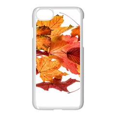 Autumn Leaves Leaf Transparent Apple iPhone 7 Seamless Case (White) by Amaryn4rt