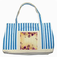 Background Floral Background Striped Blue Tote Bag by Amaryn4rt