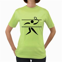 Badminton Pictogram Women s Green T Shirt by abbeyz71