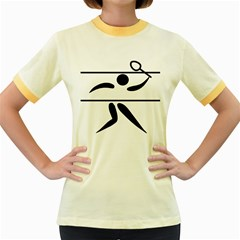 Badminton Pictogram Women s Fitted Ringer T Shirts by abbeyz71