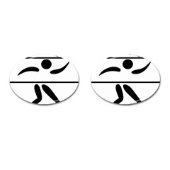 Badminton Pictogram Cufflinks (oval) by abbeyz71
