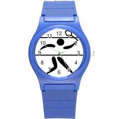 Badminton Pictogram Round Plastic Sport Watch (s) by abbeyz71