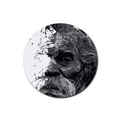 Grandfather Old Man Brush Design Rubber Round Coaster (4 Pack)