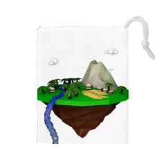 Low Poly 3d Render Polygon Drawstring Pouches (large)  by Amaryn4rt