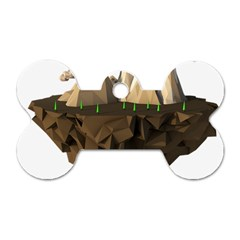Low Poly Floating Island 3d Render Dog Tag Bone (one Side) by Amaryn4rt
