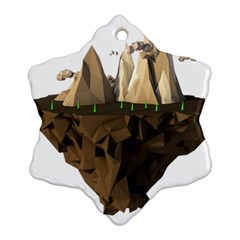 Low Poly Floating Island 3d Render Ornament (snowflake) by Amaryn4rt