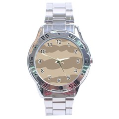Pattern Wave Beige Brown Stainless Steel Analogue Watch by Amaryn4rt
