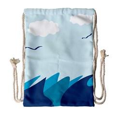 Sea Drawstring Bag (Large) by Amaryn4rt