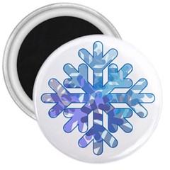 Snowflake Blue Snow Snowfall 3  Magnets