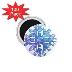 Snowflake Blue Snow Snowfall 1 75  Magnets (100 Pack)