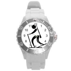 Biathlon Pictogram Round Plastic Sport Watch (l) by abbeyz71