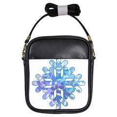 Snowflake Blue Snow Snowfall Girls Sling Bags by Amaryn4rt