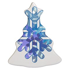 Snowflake Blue Snow Snowfall Christmas Tree Ornament (two Sides) by Amaryn4rt