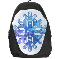 Snowflake Blue Snow Snowfall Backpack Bag by Amaryn4rt