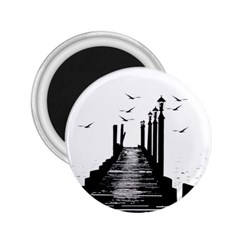 The Pier The Seagulls Sea Graphics 2 25  Magnets by Amaryn4rt