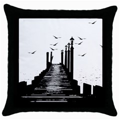 The Pier The Seagulls Sea Graphics Throw Pillow Case (black) by Amaryn4rt