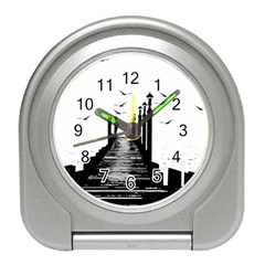 The Pier The Seagulls Sea Graphics Travel Alarm Clocks by Amaryn4rt