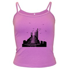 The Pier The Seagulls Sea Graphics Dark Spaghetti Tank by Amaryn4rt